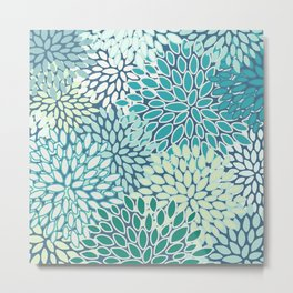 Floral Prints, Teal, Blue and Green, Modern Print Art Metal Print