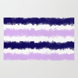 Lilac and Navy Stripes Painted Pattern Rug