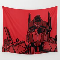 transformers Wall Tapestries featuring Transformers: Optimus Prime by Skullmuffins