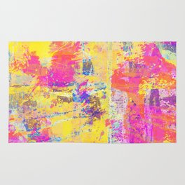 Always Look On The Bright Side - Abstract, textured painting Rug