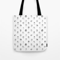 nicolas cage Tote Bags featuring 100 Portraits of Nicolas Cage, smaller pattern by Madelin Woods
