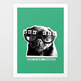 PUG SUKI - FLORALS FOR SPRING - MINT GREEN Art Print