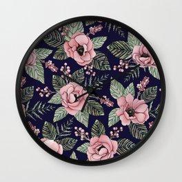 Pink, Green & Navy Blue Floral/Botanical Pattern Wall Clock