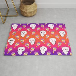 Cute happy playful cuddly funny baby kittens, sweet adorable yummy colorful Kawaii rainbow ice cream popsicles cartoon summer bright orange purple pattern design Rug