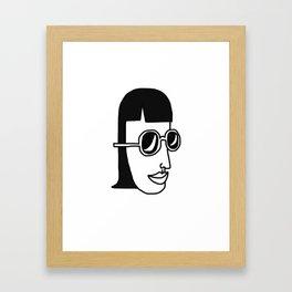 Girl, Simple line, Sunglasses Framed Art Print