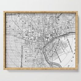 Vintage Map of Newark NJ (1872) BW Serving Tray