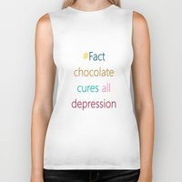 depression Biker Tanks featuring CHOCOLATE CURES DEPRESSION by SCT Shop