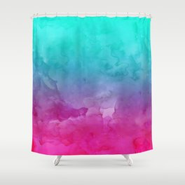 Modern bright summer turquoise pink watercolor ombre hand painted background Duschvorhang
