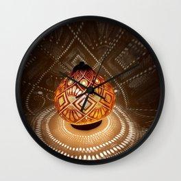 Batik pattern of the sun and rice field Wall Clock