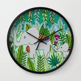 Elephant Mom and Baby Wall Clock