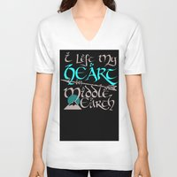 middle earth V-neck T-shirts featuring I Left My Heart in Middle Earth (white version) by Nikki Fernandez