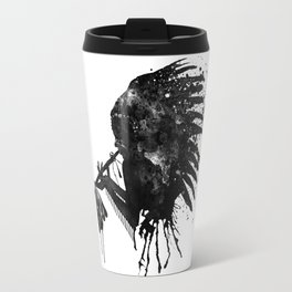 Indian with Headdress Black and White Silhouette Travel Mug
