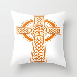 St Patrick's Day Celtic Cross Orange and White Throw Pillow