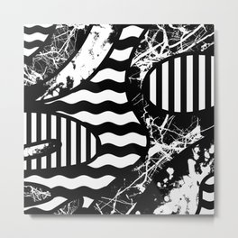 Curvy Contrast - Black and white stripes, waves, marble and paint splats abstract artwork Metal Print