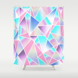 Girly Gradient Geometric Triangles in Pink Teal Shower Curtain