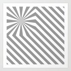 Stripes explosion - Grey Art Print