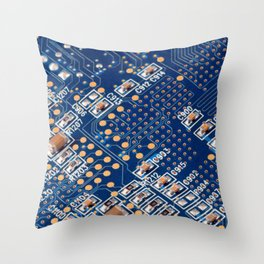Blue Panel Throw Pillow