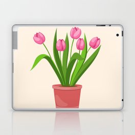 pink tulips in the pot Laptop & iPad Skin