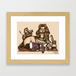 His Dudeness Abides Framed Art Print