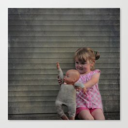 Waving goodbye: girl with doll Canvas Print