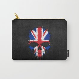 Union Jack Flag on a Chaotic Splatter Skull Carry-All Pouch