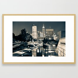 Downtown Indianapolis Indiana Skyline in Sepia Framed Art Print