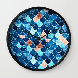 REALLY MERMAID BLUE & GOLD Wall Clock