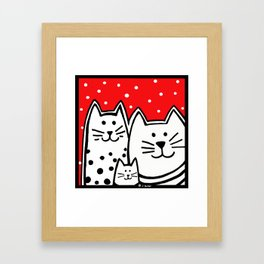 Three Kitties With Polka Dots Framed Art Print