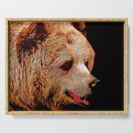 kodiak brown bear vector art Serving Tray