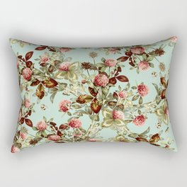 Vintage shabby green pink coral floral pattern Rectangular Pillow