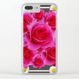 Rose Bouquet Garden Shasta Daisies Art Abstract Clear iPhone Case