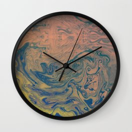 Pink Neon Marble - Earth Gum #nature #planet #marble Wall Clock