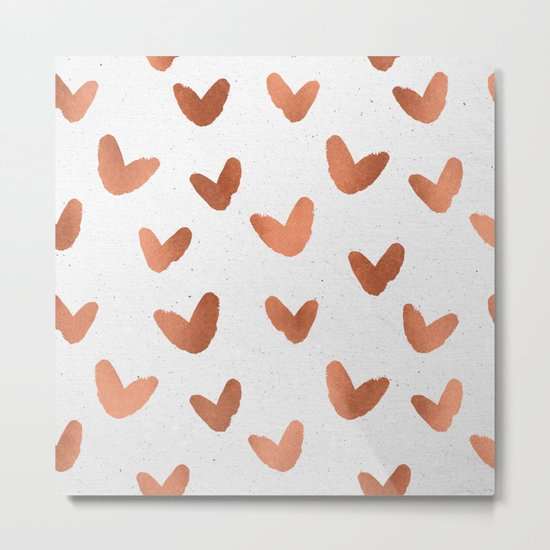 Rose Gold Pink Hearts on Paper Metal Print
