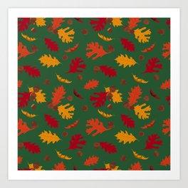 Fall Leaves and Acorns on Green Art Print