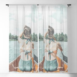 Row Your Own Boat #illustration #decor #painting Sheer Curtain
