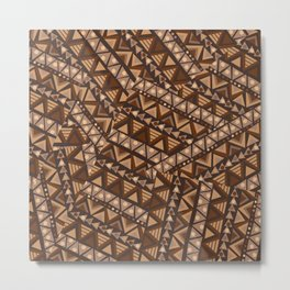 Patchwork with brown geometrical ethnic motifs Metal Print