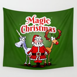 Magic Christmas with a unicorn Wall Tapestry