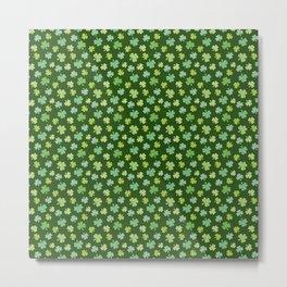 Happy St. Patrick's Day Shamrock Pattern on dark green Metal Print
