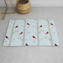 Red Cardinal Bird In The Winter Forest Rug