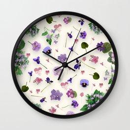 Delicate Violets Wall Clock