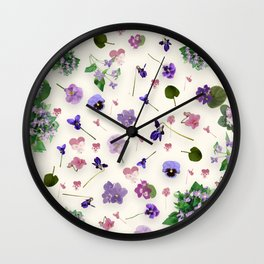 Delicate Violets Wall Clock