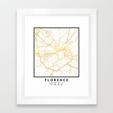FLORENCE ITALY CITY STREET MAP ART Framed Art Print