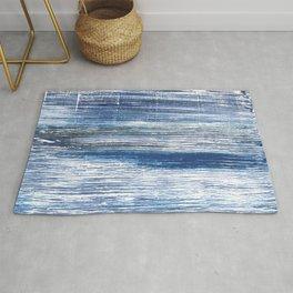 Metallic blue abstract watercolor Rug
