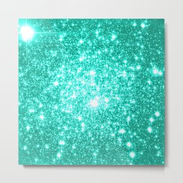 mint Sparkle Stars Metal Print