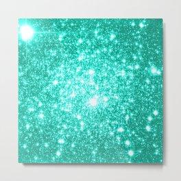 mint Green Sparkle Stars Metal Print