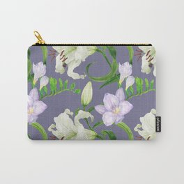 Lily and freesia flowers watercolor purple seamless pattern Carry-All Pouch