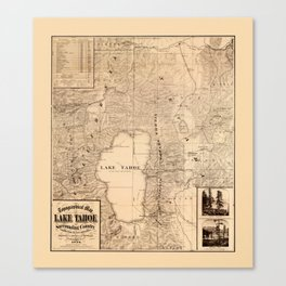 Map Of Lake Tahoe 1874 Canvas Print