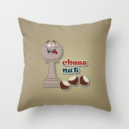Chess Pawn, Chess Nut and Chestnuts Throw Pillow
