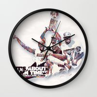 lebron Wall Clocks featuring Lebron//NBA Champion 2012 by Largetosti