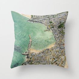 Aerial Views over St. Ives, Cornwall Throw Pillow